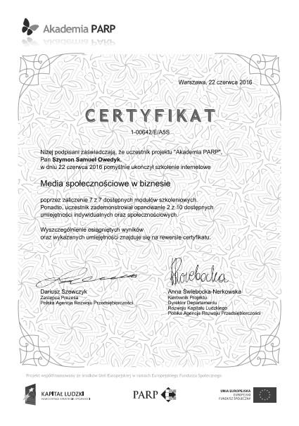 Certyfikat Media społecznościowe w biznesie