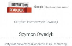 dobry copywriter pl, copywriting cennik Certyfikat internetowych rewolucji Google