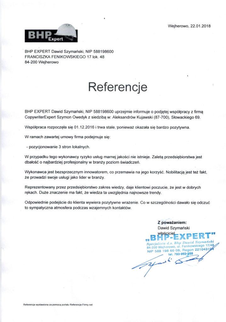 referencje od BHP Dawid Szymański