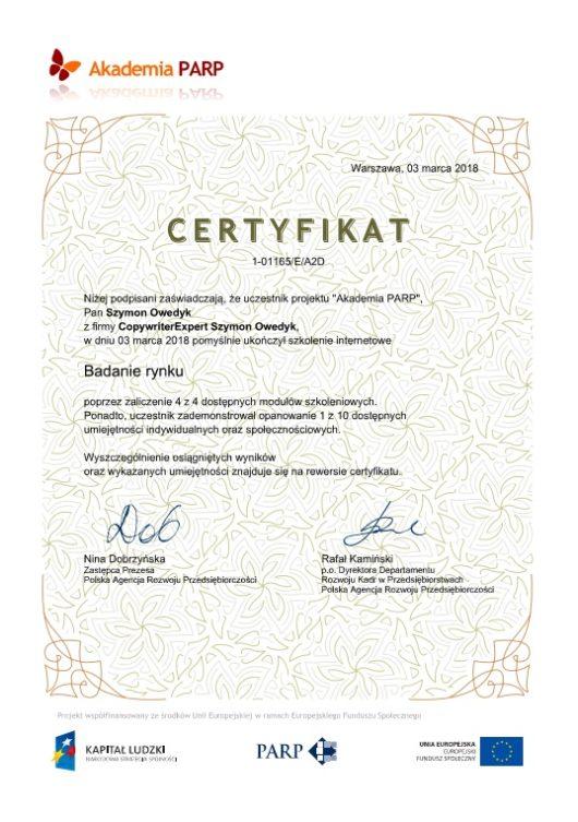 Certyfikat przejścia szkolenia Badanie Rynku marzec 2018