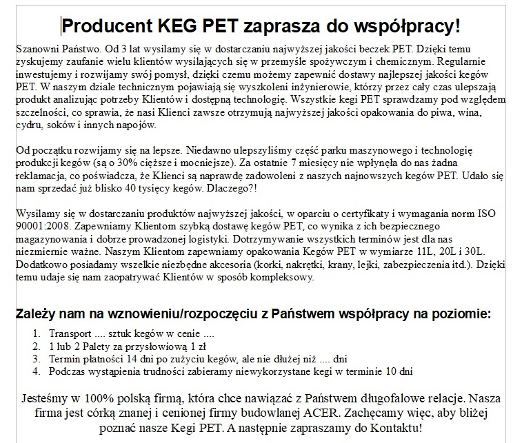 teksty marketingowe dla producenta kegpet