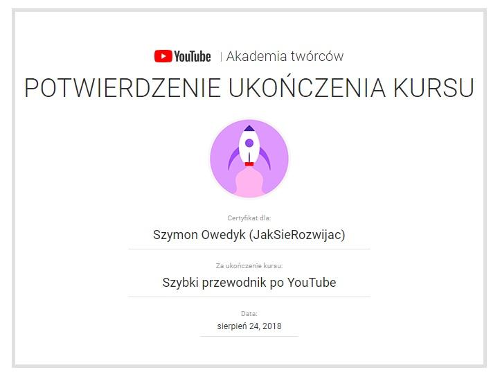 potwierdzenie ukończenia kursu Szybko przewodnik po YouTube