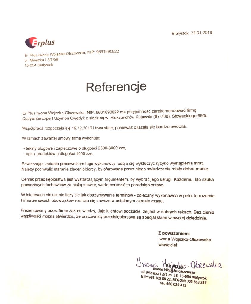 referencje dla Copywritera Szymon Owedyk od ErPlus