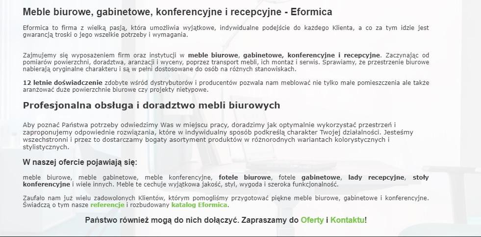 tekst na stronę główną Eformica - Copywriter Szymon Owedyk