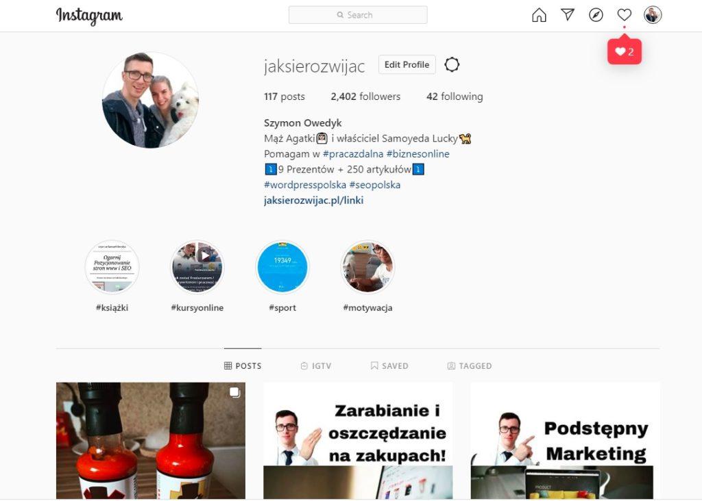 Pozycjonowanie Instagrama - konto instagram JakSieRozwijac