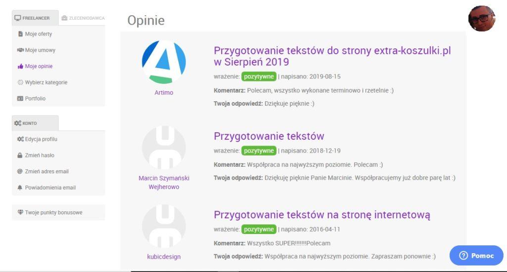 Pozytywne opinie Copywritera i Specjalisty SEO w serwisie useme